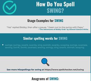 Correct spelling for swing