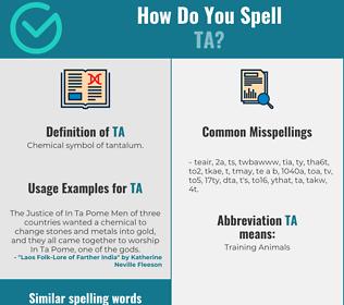 Correct spelling for ta
