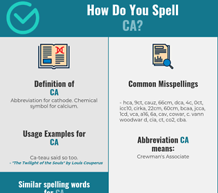 Correct spelling for ca