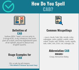 Correct spelling for cab