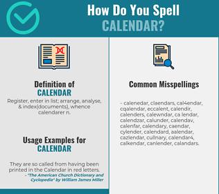 Correct Spelling For Calendar Spellchecker Net
