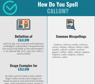 Correct spelling for callow
