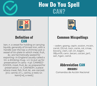 Correct spelling for can