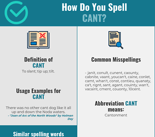 Correct spelling for cant