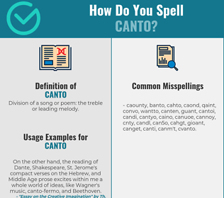 Correct spelling for canto