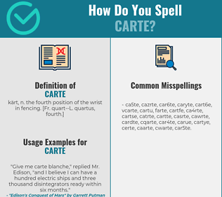 Correct spelling for carte