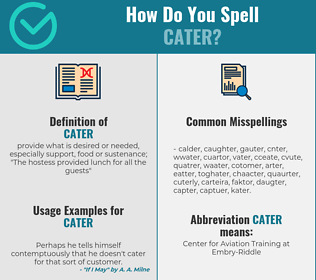 Correct spelling for cater