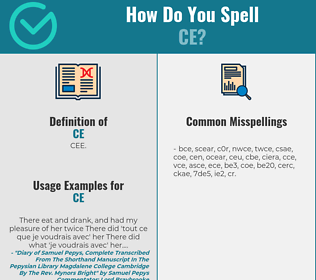 Correct spelling for ce