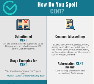 Correct spelling for cent