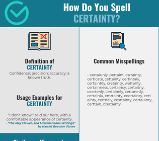 Correct spelling for certainty