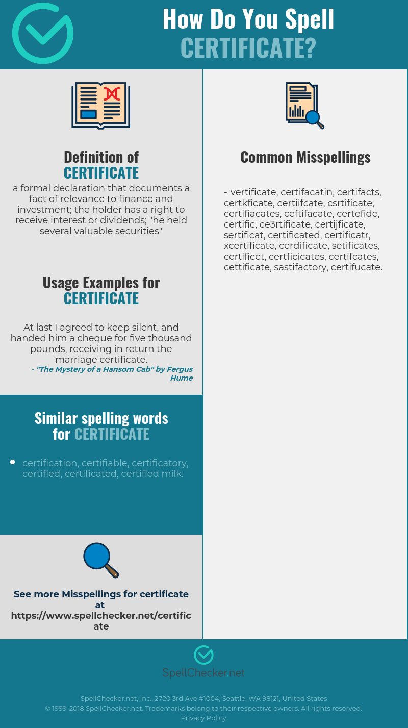 Correct Spelling For Certificate Spellchecker