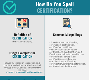 Correct spelling for certification