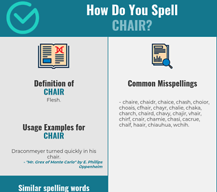 Correct spelling for chair