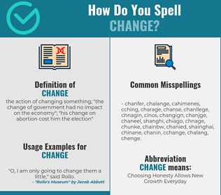 Correct spelling for change