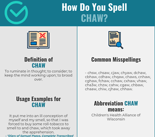Correct spelling for chaw