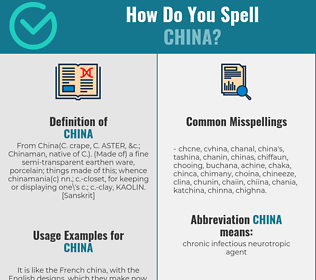 Correct spelling for china