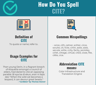 Correct spelling for cite