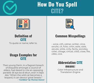 Correct spelling for cite