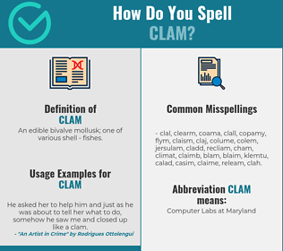 Correct spelling for clam