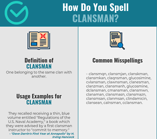 Correct spelling for clansman