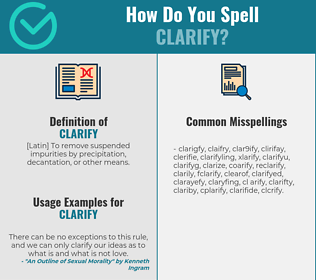 Correct spelling for clarify