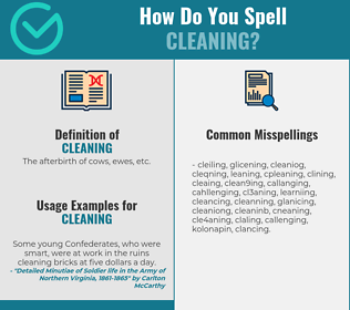 Correct spelling for cleaning