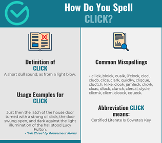 Correct spelling for click