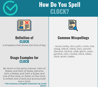Correct spelling for clock
