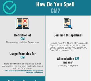 Correct spelling for cm