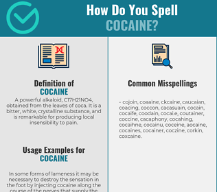 Correct spelling for cocaine
