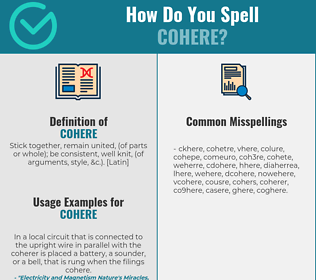 Correct spelling for cohere