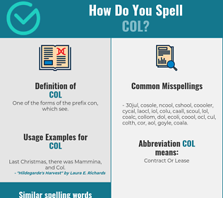 Correct spelling for col