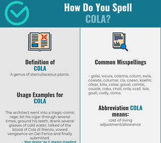 Correct spelling for cola