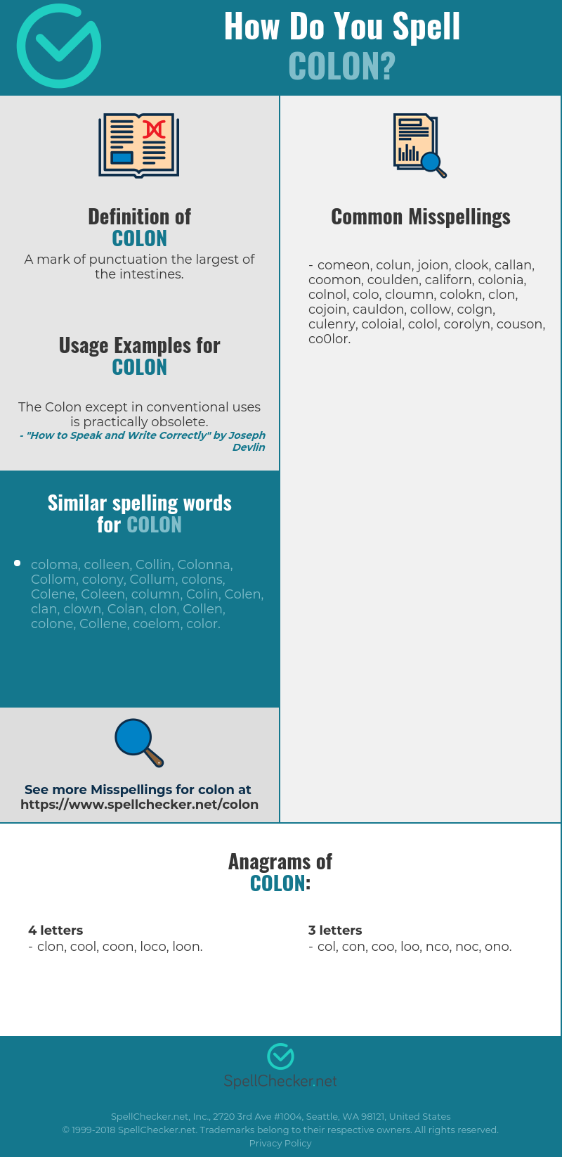 Correct Spelling For Colon Infographic Spellchecker Net