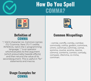 Correct spelling for comma