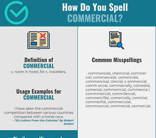 Correct spelling for commercial
