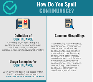 Correct spelling for continuance