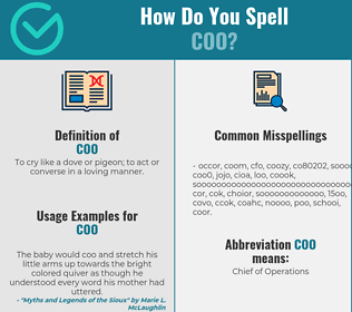 Correct spelling for coo