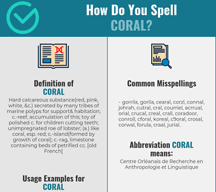 Correct spelling for coral