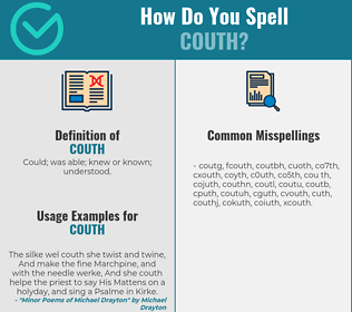 Correct spelling for couth
