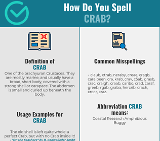 Correct spelling for crab