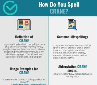 Correct spelling for crane