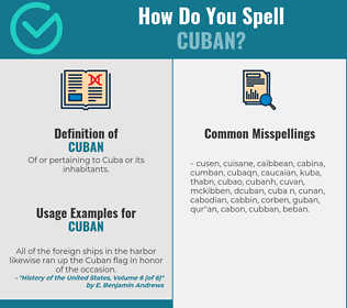 Correct spelling for cuban