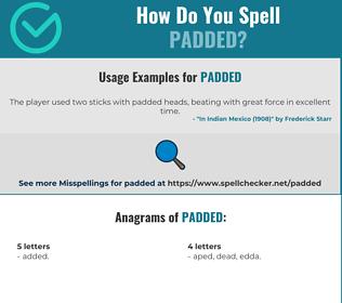Correct spelling for padded