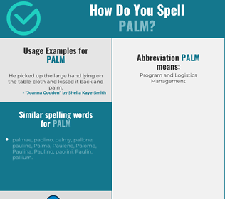 Correct spelling for palm
