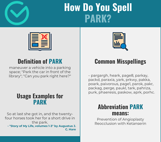 Correct spelling for park