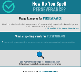 Correct spelling for perseverance