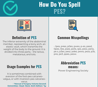Correct spelling for pes