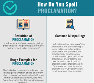 Correct spelling for proclamation