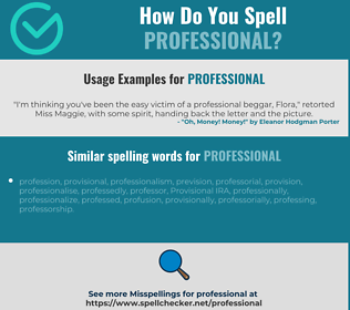 Correct spelling for professional